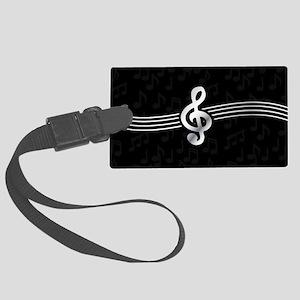Stylish clef on musical note bac Large Luggage Tag