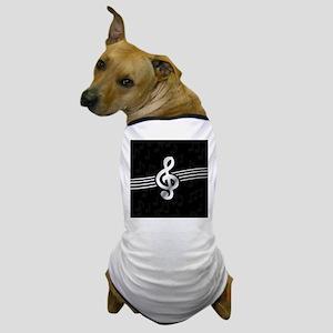 Stylish clef on musical note backgroun Dog T-Shirt