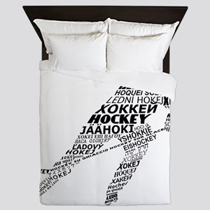 Hockey Languages Typography Queen Duvet