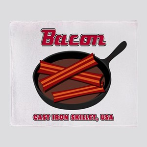 Bacon Cast Iron Skillet USA Throw Blanket