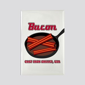 Bacon Cast Iron Skillet USA Rectangle Magnet