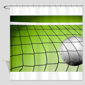 Green Volleyball Net Shower Curtain