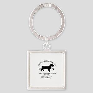English Springer dog breed designs Square Keychain