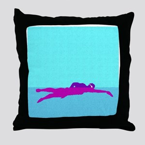 PAINTED PURPLE SWIMMER Throw Pillow