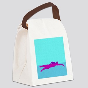 PAINTED PURPLE SWIMMER Canvas Lunch Bag