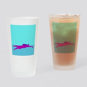 PAINTED PURPLE SWIMMER Drinking Glass