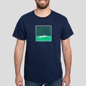 WAX WHITE ON GREEN SWIMMER Dark T-Shirt