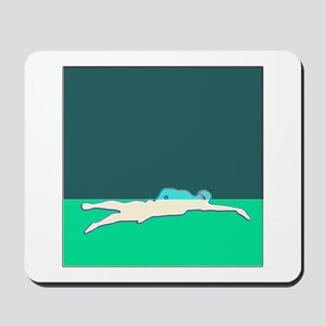 WAX WHITE ON GREEN SWIMMER Mousepad
