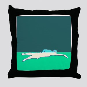 WAX WHITE ON GREEN SWIMMER Throw Pillow