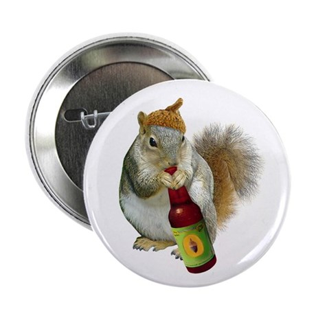 "Squirrel Acorn Beer 2.25"" Button"