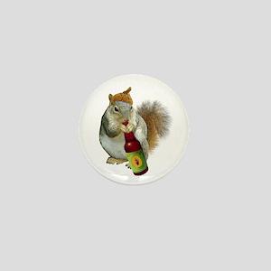 Squirrel Acorn Beer Mini Button