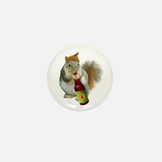 Squirrel Acorn Beer Mini Button