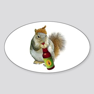 Squirrel Acorn Beer Sticker (Oval)
