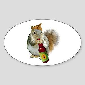 Squirrel Acorn Beer Sticker (Oval)