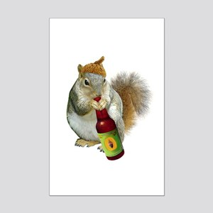 Squirrel Acorn Beer Mini Poster Print