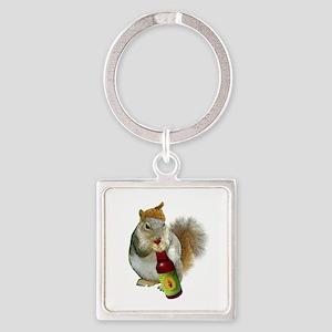Squirrel Acorn Beer Square Keychain
