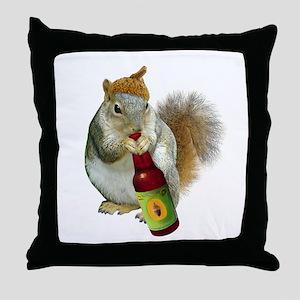 Squirrel Acorn Beer Throw Pillow