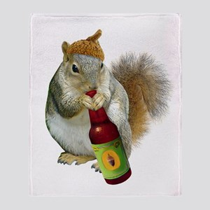 Squirrel Acorn Beer Throw Blanket