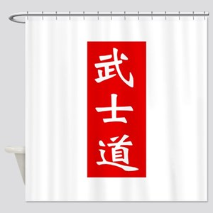 Samurai Bushido Kanji Red Shower Curtain