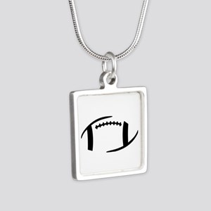 Football Silver Square Necklace