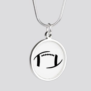 Football Silver Round Necklace