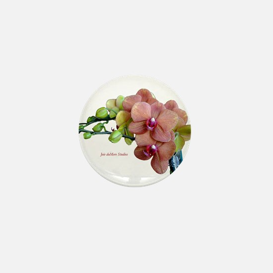 Orange Orchids White Background copy Mini Button