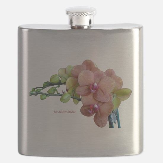 Orange Orchids White Background copy Flask
