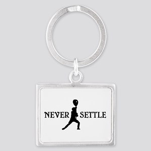 Lacrosse Goalie Never Settle Black and White Keych