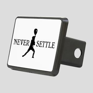 Lacrosse Goalie Never Settle Black and White Hitch