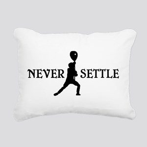Lacrosse Goalie Never Settle Black and White Recta