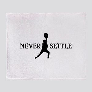 Lacrosse Goalie Never Settle Black and White Throw