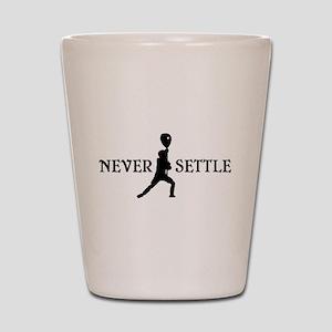 Lacrosse Goalie Never Settle Black and White Shot