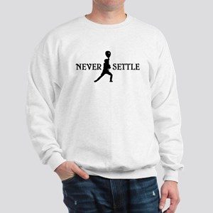 Lacrosse Goalie Never Settle Black and White Sweat