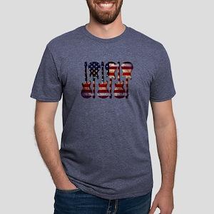 American Flag Guitar Art Mens Tri-blend T-Shirt