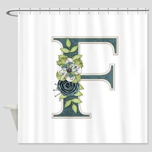Monogram Letter F Shower Curtain
