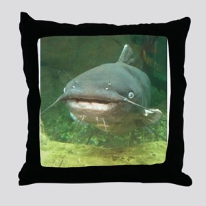 Curious Catfish Throw Pillow