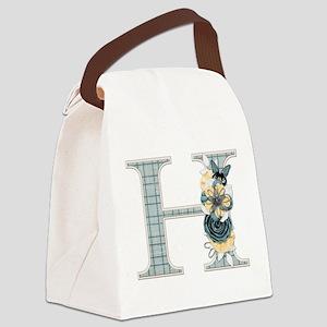 Monogram Letter H Canvas Lunch Bag