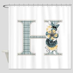 Monogram Letter H Shower Curtain