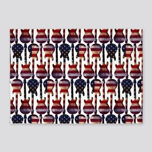 American Flag Guitar Art 5'x7'Area Rug