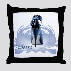 Blue Stiletto Throw Pillow