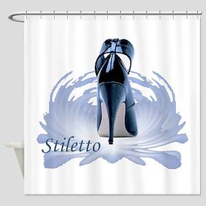 Blue Stiletto Shower Curtain