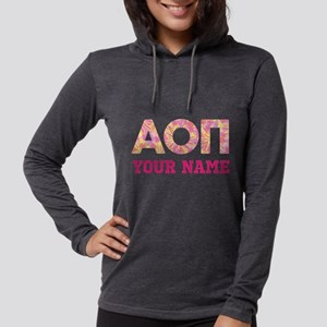 Alpha Omicron Pi Floral Womens Hooded Shirt