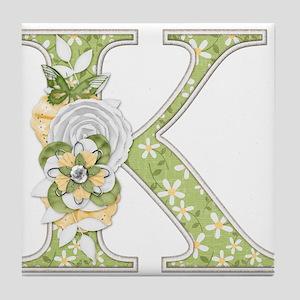 Monogram Letter K Tile Coaster
