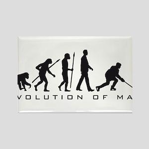 evolution of man hockey player Rectangle Magnet
