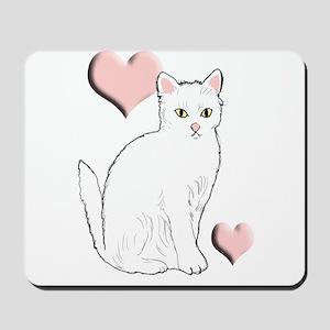 White Kitty Mousepad