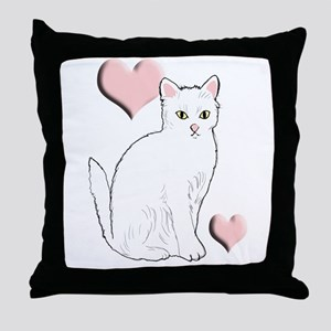 White Kitty Throw Pillow