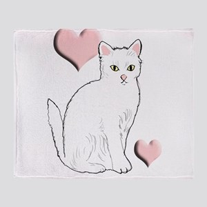 White Kitty Throw Blanket