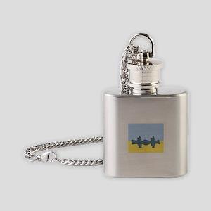 CHALK BLUE SKY CANOE Flask Necklace
