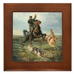 Russian Borzoi Hunt Framed Tile
