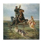 Russian Borzoi Hunt Tile Coaster